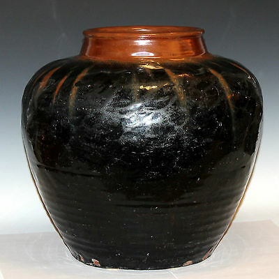 Large Antique Chinese Yuan Ming Dynasty Storage Jar Vase Iron Hare's Fur Glaze