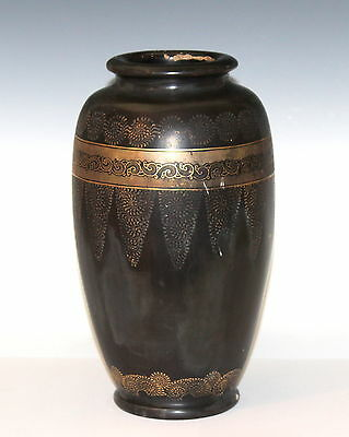 Antique Japanese Nippon Large Lacquer Pottery Gilt Vase C1910 Wisteria