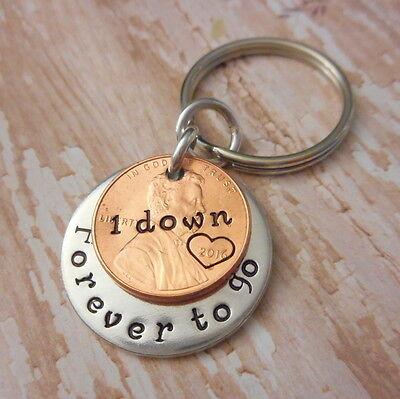 1 Down Forever To Go Anniversary Key Chain 2016 Lucky Penny Heart Around Year