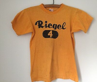 Champion Running Man Distressed VTG Child T-Shirt Small 1950s Riegel Cotton