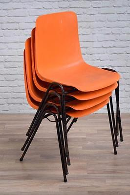 Set Of 4 Vintage Industrial Orange 'Remploy' Plastic Stacking Cafe Bar Chairs