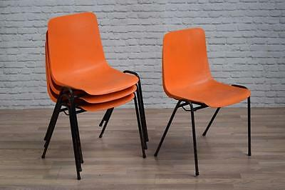 Vintage Industrial Orange 'Remploy' Plastic Stacking Cafe Bar Kitchen Chairs