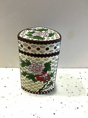 Cloisonne Three Sided Jar Box with Lid Floral Motif