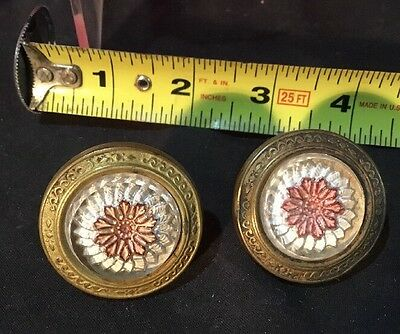 Pair Of Vintage Antique Victorian Brass & Glass Picture Painting Nail Hangers