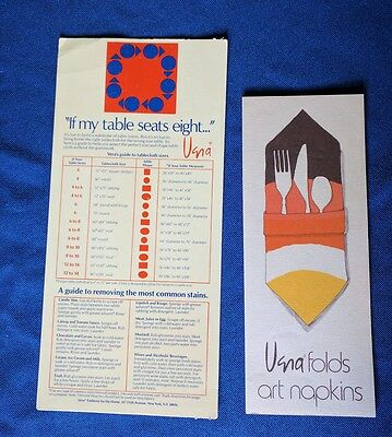 Vintage Vera Guide Tablecloth Sizes, Stain Removal & Napkin Art Folds brochure