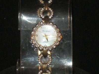 Vtg Ladies Armitron Now W/clear Stones Mother Of Pearl Face Goldtone Band P023
