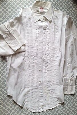 Brooks Brothers White Pleated Tuxedo French Cuff L/S Dress Shirt 15.5 x 35