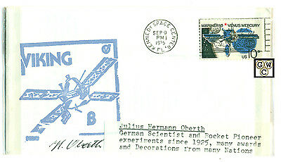 First Day Cover Signed by-Julius Hermann Oberth,GermanScientist & Rocket Pioneer