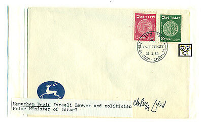 First Day Cover Signed by - Menachem Begin , Israeli Lawyer & Politician