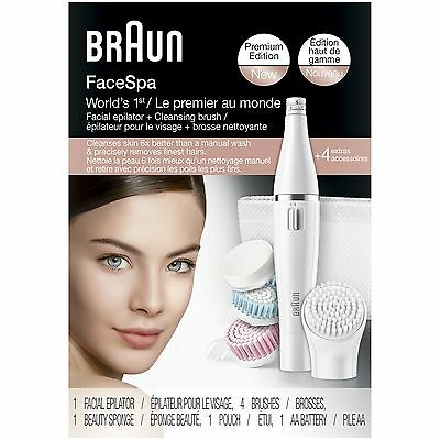 Braun FaceSpa 851 - Mini-Facial Epilator With 4 Facial Cleansing Brushes And