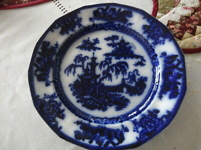 Antique E Challinor Ironstone Pelew Pattern Flow Blue 10.5 inch Plate