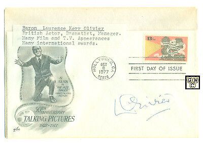 First Day Cover Signed by - Baron Laurence Kerr Olivier , British Actor