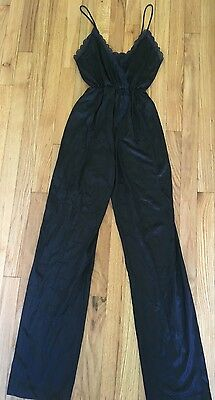 Vtg 70s FLAIR Black Sheer Nylon & Lace Jumpsuit Playsuit Strappy Top Long Pants