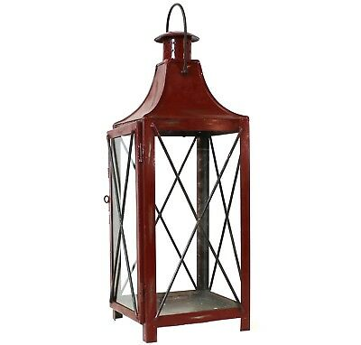 Vintage Style Distressed Red Candle Lantern   X Candleholder Carriage