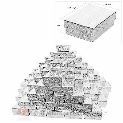 """100 Silver Foil Cotton Filled Jewelry Gift Boxes Charm Ring Box 3 1/4"""" X 2 1/4"""