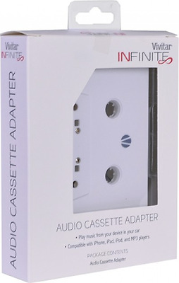 (6) V15688 Vivitar Infinite Audio Cassette Adapter White 3.5mm Audio Jack MP3