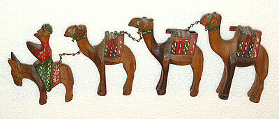 Vintage Hand Carved Wooden Camel Caravan w/ 1 Man Riding a Donkey  Arabian Craft