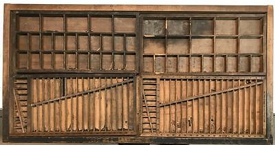 Printers Type Drawer - Vintage Wooden Letterpress Tray -  Hamilton Metal Handle