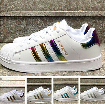 Mens Women's Leather Casual Lace Up Sneakers Trainer Shoes Superstar Size 36-44