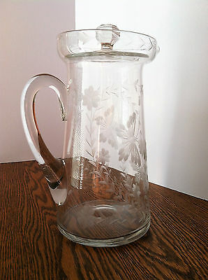 "Antique Etched Glass 9.5"" Pitcher with Lid~Gorgeous Floral & Butterfly Etchings"