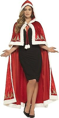 Ladies Long Red Mrs Claus Christmas Santa Xmas Cape Cloak Fancy Dress Costume