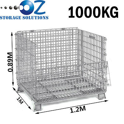 Collapsible Stackable Folding Wire Mesh Stillage Basket Warehouse Cage Heavyduty
