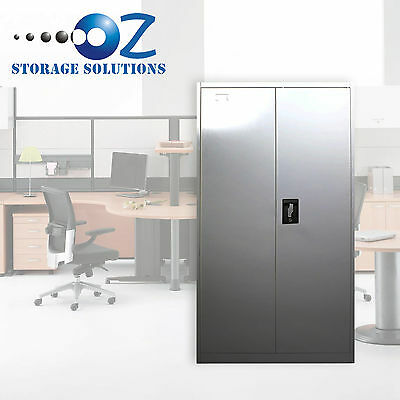 2 Door Office Filing Cabinet Locker Steel Storage Cupboard Stationary File Safe