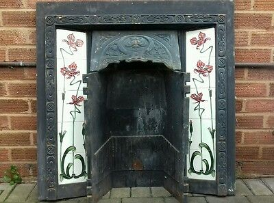Reclaimed Victorian Style Fireplace with Art Nouveau Tiled Inserts Price Reduced