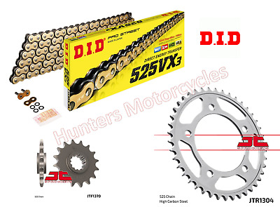 Honda CB600 Hornet 2007 to 2013  DID Gold X-Ring Chain & JT Sprockets Kit Set