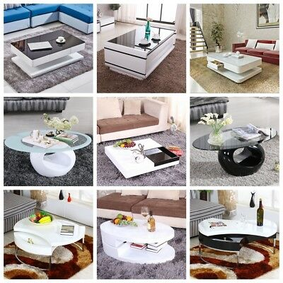New Coffee Table White Black Various Styles Fashionable High Gloss Furniture