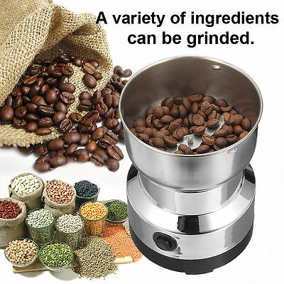 220V Stainless Steel Electric Coffee Grinder Grinding Grind Beans Herb Spice DY