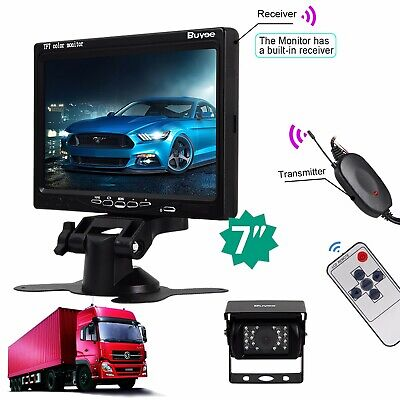"Wireless IR Rear View Back up RV Truck Car Camera Night Vision System+7"" Monitor"