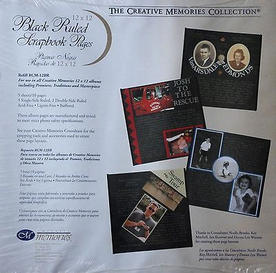 Creative Memories 12x12 Black Ruled Scrapbook Pages