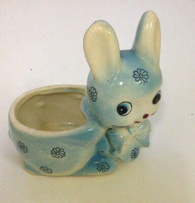 Vintage Blue Rabbit Planter Vase - 1950's Japan