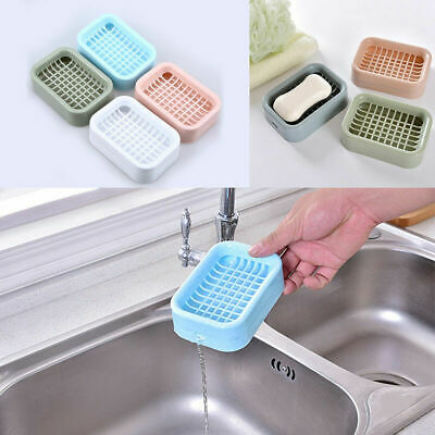 Bathroom Water Draining Soap Dish Case Holder Drainer Soap Saver Storage Box New