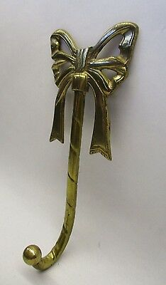 "Vintage Brass Ribbon Bow Wall Hanging Hook 8"" x 3 1/2"""