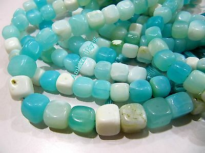 Natural Peruvian Blue Opal Plain Smooth Box Shape Beads 7-8 mm, Strand 8 inches.