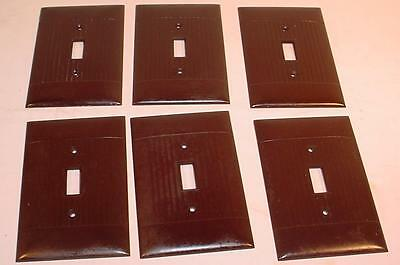6 Sierra Electric Oversize Brown Ribbed Deco Wall Switch Covers / Plates