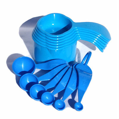 Tupperware Measuring Cups and Spoons FULL SET in Blues NEW cup Spoon