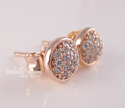 3d7b93c5c DAZZLING DROPLETS Genuine PANDORA Rose GOLD Plated/PAVE Earring STUDS  280726CZ