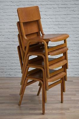 Set Of 4 Vintage Industrial Tecta Stacking School Cafe Bar Kitchen Dining Chairs