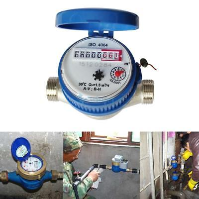 15mm 1/2 inch Cold Water Meter for Garden & Home Using with Free Fittings Kit UK
