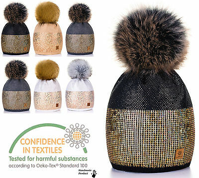 Women Winter Beanie Hat Wool Knitted Ladies Fashion Large Pom Pom Crystals 2