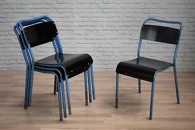 Vintage Industrial Bakelite Stacking School Cafe Bar Kitchen Dining Chairs