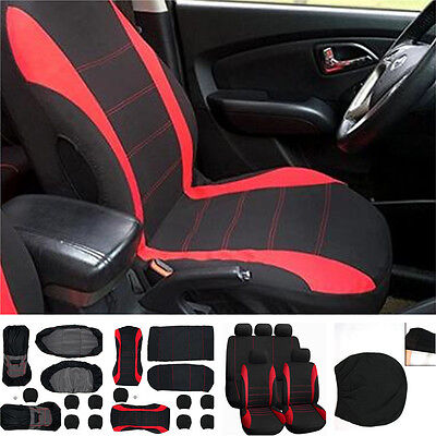 Car Seat Covers Universal For 5-Seats Seat Cover Red & Black Polyester 9pcs Kits