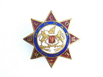 Antique Bhavnagar State Enamel Vaughton's England Souvenir Royal King Badge Pin