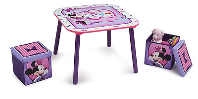 Delta Children Minnie Mouse Table and Ottoman Stools, Kids Storage Stools