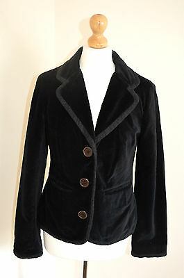Ladies Boden  Classic Black Velvet Tailored Jacket Blazer Coat Uk12 Vgc