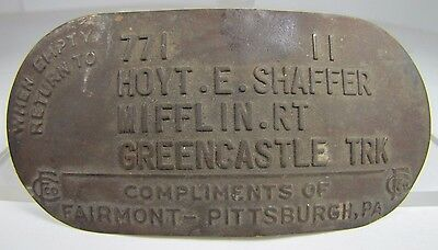 Old When MT Return 2 Hoyt Shaffer Mifflin RT Metal Milk Can Tag Sign Nameplate