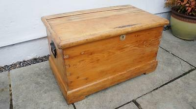Small early 20th c pine blanket box/chest, rustic, solid, refurbished VGC